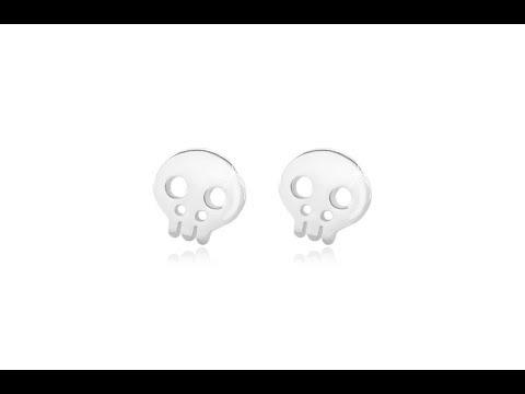 09983cdd1 Šperky - Strieborné 925 náušnice - lesklá lebka s výrezmi, puzetové  zapínanie