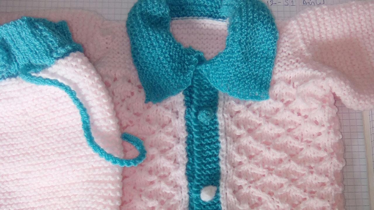 Tuto tricot:brassière bébé/cardigan bébé au tricot/vestido bébé/sweater baby de 0-3 mois part1/1 ...