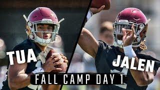 Jalen Hurts and Tua Tagovailoa run drills during Day 1 of Alabama fall camp