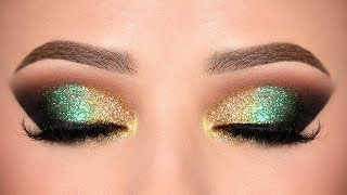GREEN & GOLD Glitter Smokey Eye makeup Tutorial