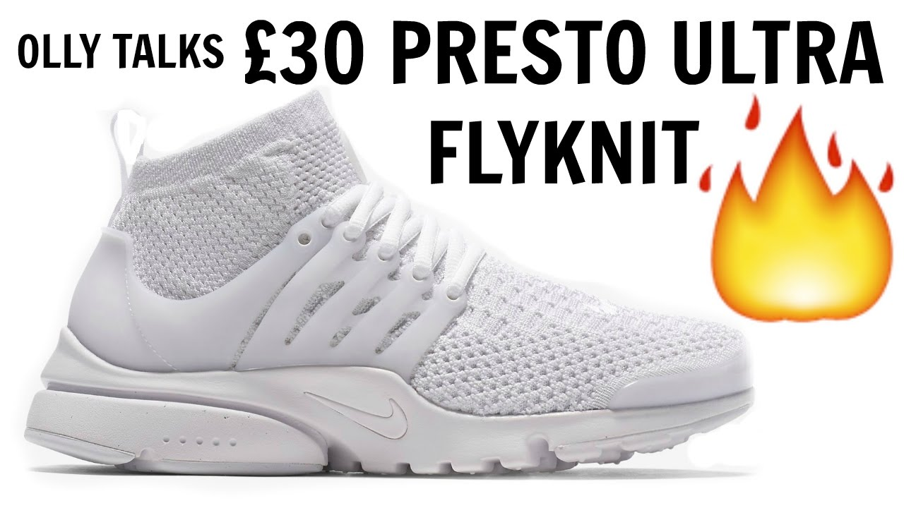 13ab172f7ea3 £30 NIKE PRESTO ULTRA FLYKNIT ALL WHITE REVIEW AND ON FEET!! - YouTube
