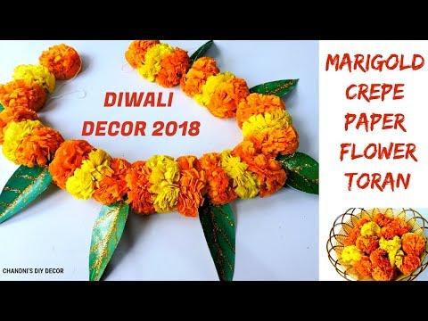 How To Make Paper Flower Toran With Leaves    DIY Marigold Paper Flowers    Diwali Decor Ideas 2018