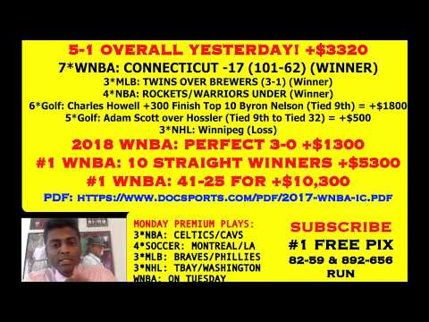 FREE MLB PICKS, 5-1 SUNDAY +$3700, #1 WNBA: NOW 10 STRAIGHT WINNERS [05-21-18]