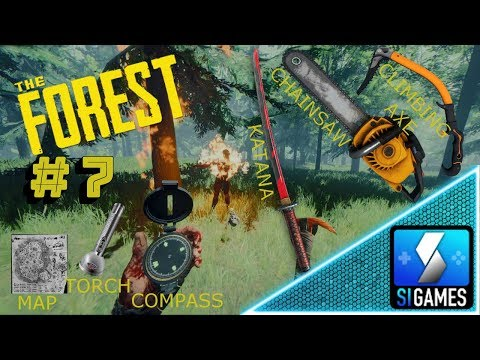 Let's Play The Forest - How To Find Map Torch Compass Katana Chainsaw Climbing Axe Locations - Ep7