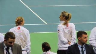 Maria Sharapova dances at the Fed Cup .