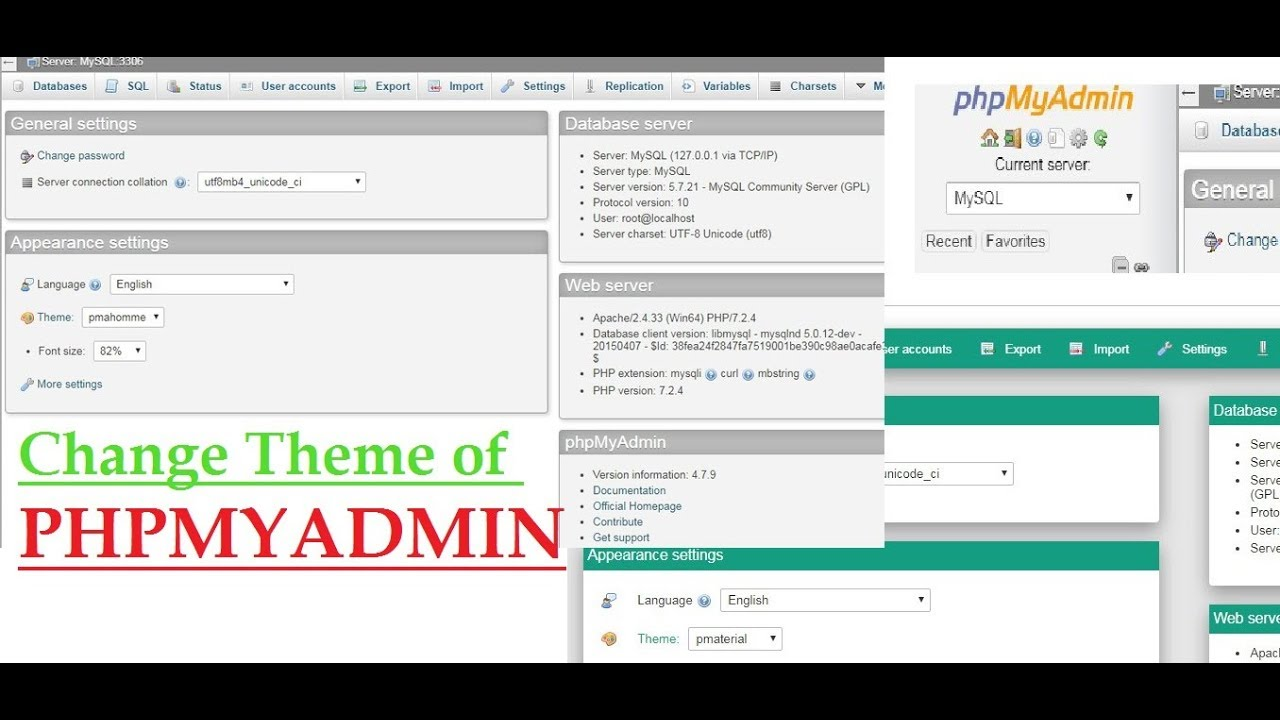 How to Change theme of phpmyadmin from Dashboard   phpmyadmin Customization  