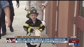 Firefighter for a day: 5-year-old boy with muscular dystrophy reports for duty