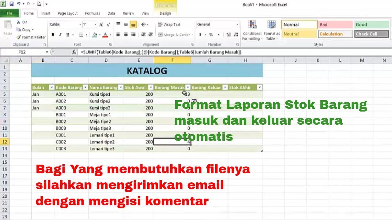 Cara Membuat Format Laporan Stok Barang Masuk Keluar Dengan Excel Secara Otomatis Youtube