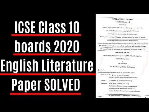 icse class 10 English literature paper 2020 solutions l ICSE 2020 English Literature paper Answers
