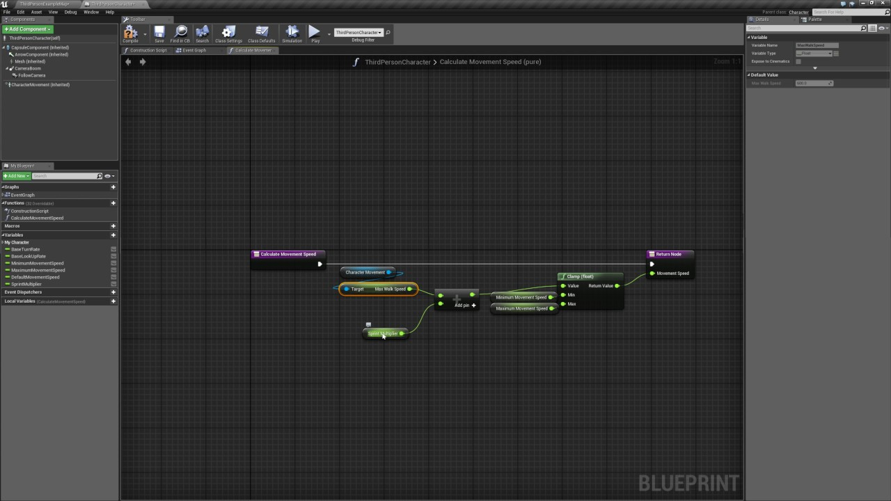 Unreal Engine 4 Blueprints - Increasing Character movement speed while  moving