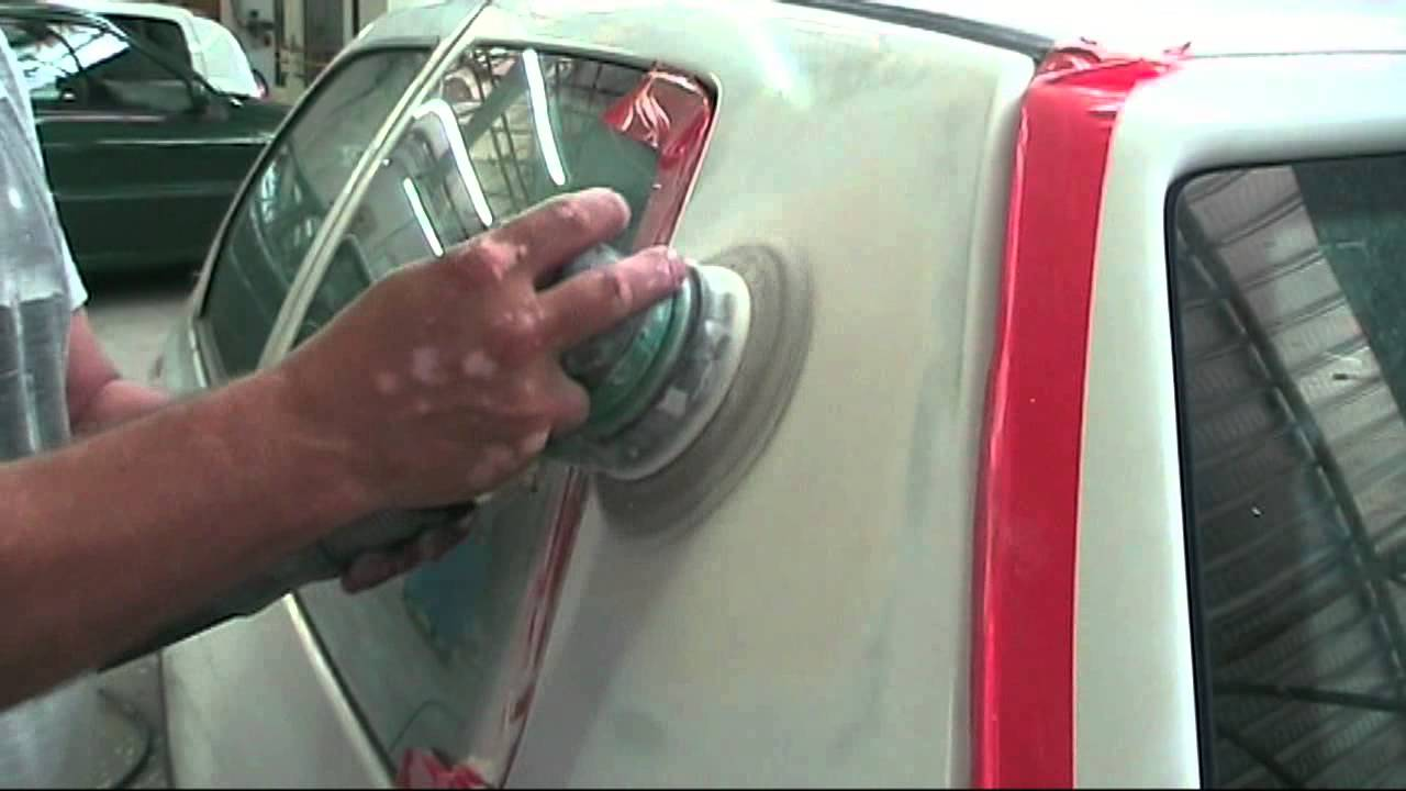 Application Et Ponçage Du0027un Mastic Polyester Sur Carrosserie - YouTube