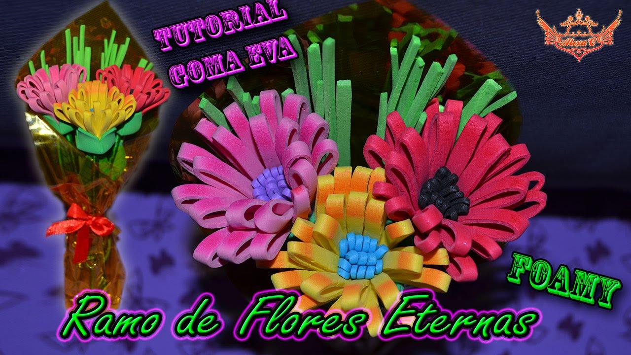 Tutorial ramo de flores eternas para d a de la madre san valentin de goma eva foamy youtube - Flores sencillas de goma eva ...