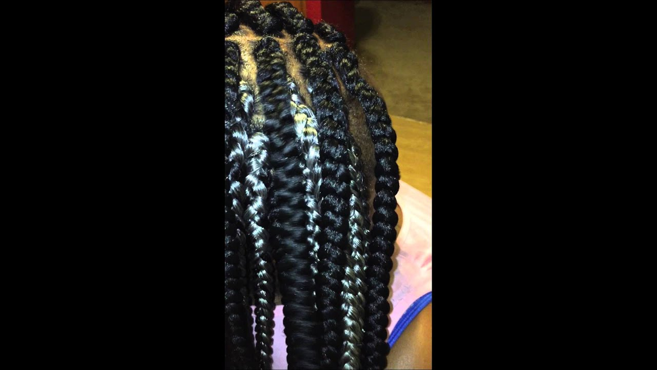 Crochet Box Braids With Rubber Bands : Large/Jumbo Box Braids - YouTube
