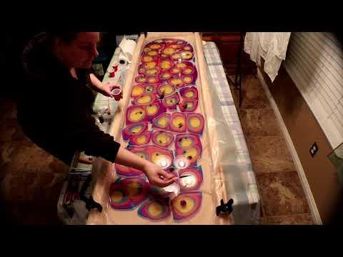 (200) My First Ebru Marbling Silk Scarves!
