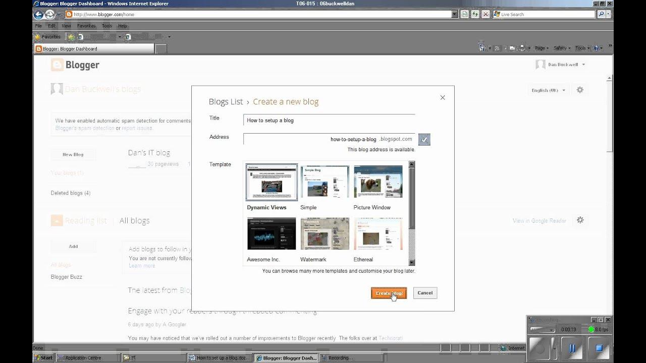 how to setup a blog site