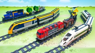 Поезда и машинки - распаковка поездов для детей  train police train 2021 vs freight electric TRAIN.