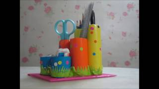how to make a pencil holder out of a toilet paper roll -Back to school