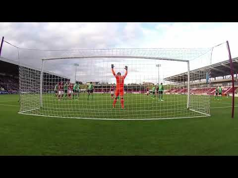 GOALCAM: Cobblers denied by the woodwork and a goal-line clearance against Scunthorpe United