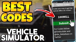 *NEW* BEST CODES! ($900,000) | Vehicle Simulator ROBLOX