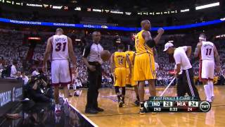 DJ Augustin takes a ride on Shane Battier's back - Pacers @ Heat, Game 1