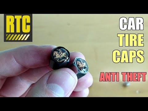 Cool Car Tire Valve Caps with Locking Black and Chrome Air Stem Covers
