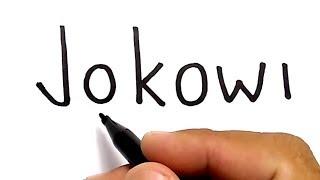 WOW, menggambar kata jokowi jadi wajah JOKOWI, / how to turn words JOKOWI into CARTOON