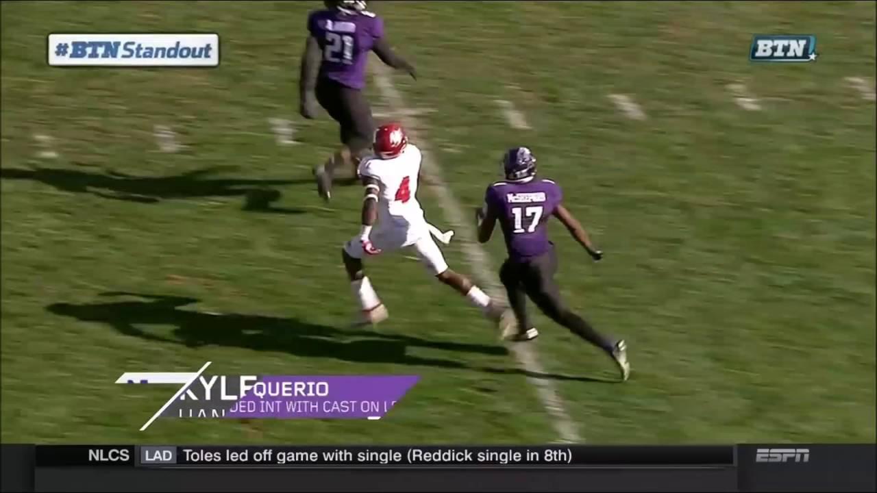 meet 46ad7 a84a2 Kyle Queiro #21 Broken Arm One Handed Catch Best Catch Of 2016  Northwestern!!!