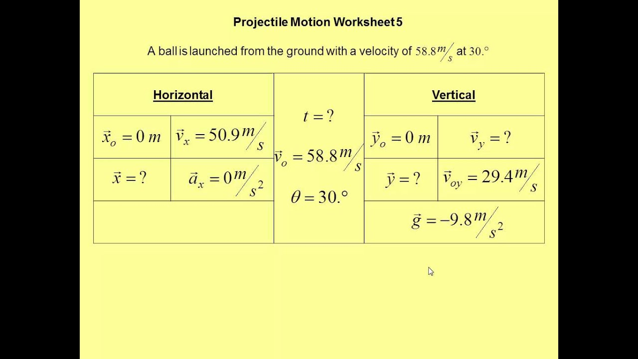 Projectile Motion Worksheet 5 YouTube – Projectile Motion Worksheet
