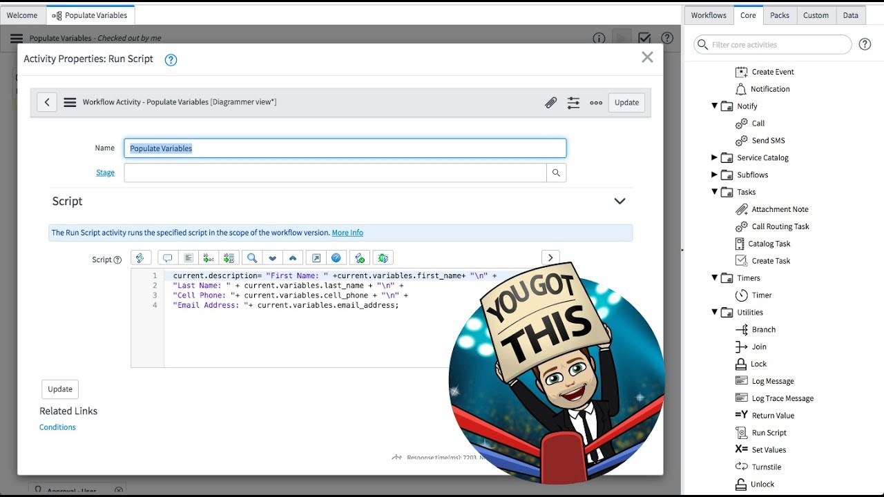 ServiceNow - How to Insert Several Variables into a Requested Item's  Description Field in London