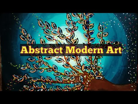 Abstract Modern Art Painting| Easy tutorial for beginners| Acrylic painting techniques|