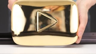 GOLD PLAY BUTTON for Mr. Hacker - What INSIDE?