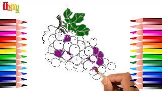 Drawing and Coloring Vegetables , Vẽ tranh tô màu Rau củ quả, be tap to mau
