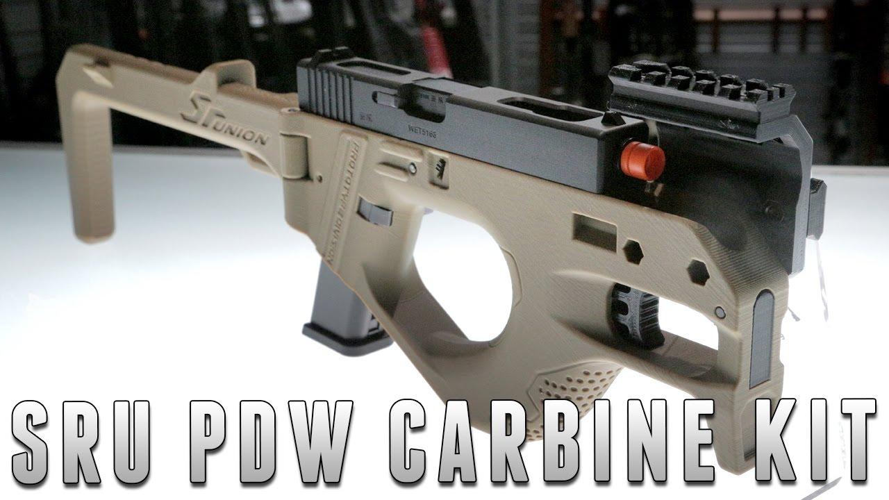SRU 3D Printed PDW Gas Blowback Pistol Carbine (Color: Tan)