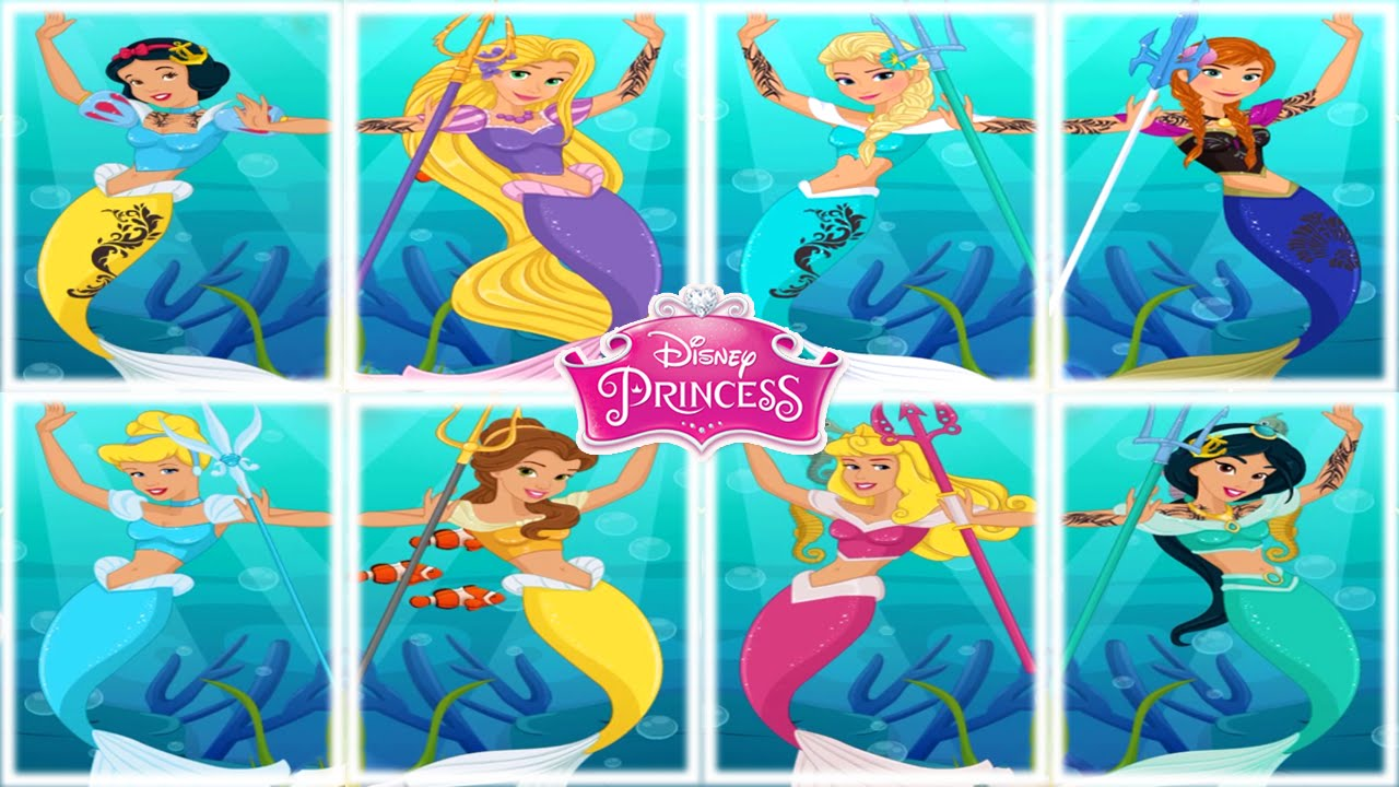 💫 Disney Mermaid Princesses Dress Up Game for Girls - YouTube