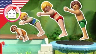 Playmobil english The Trampoline - The Hauser Family - toy films for kids