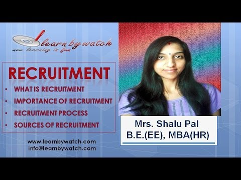 """Recruitment"" by Shalu Pal - MBA HR Video-1 (Hindi / Urdu)"