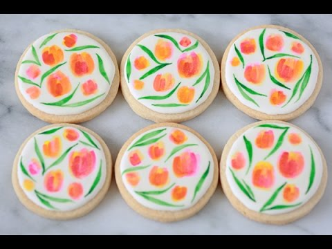 How to Decorate Water Color Tulip Cookies for Spring ...