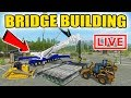 watch he video of FARMING SIMULATOR 2017 | 50 FOOT BRIDGE BUILDING FAIL | WITH 18 WHEELED CRANE | LIVE STREAM