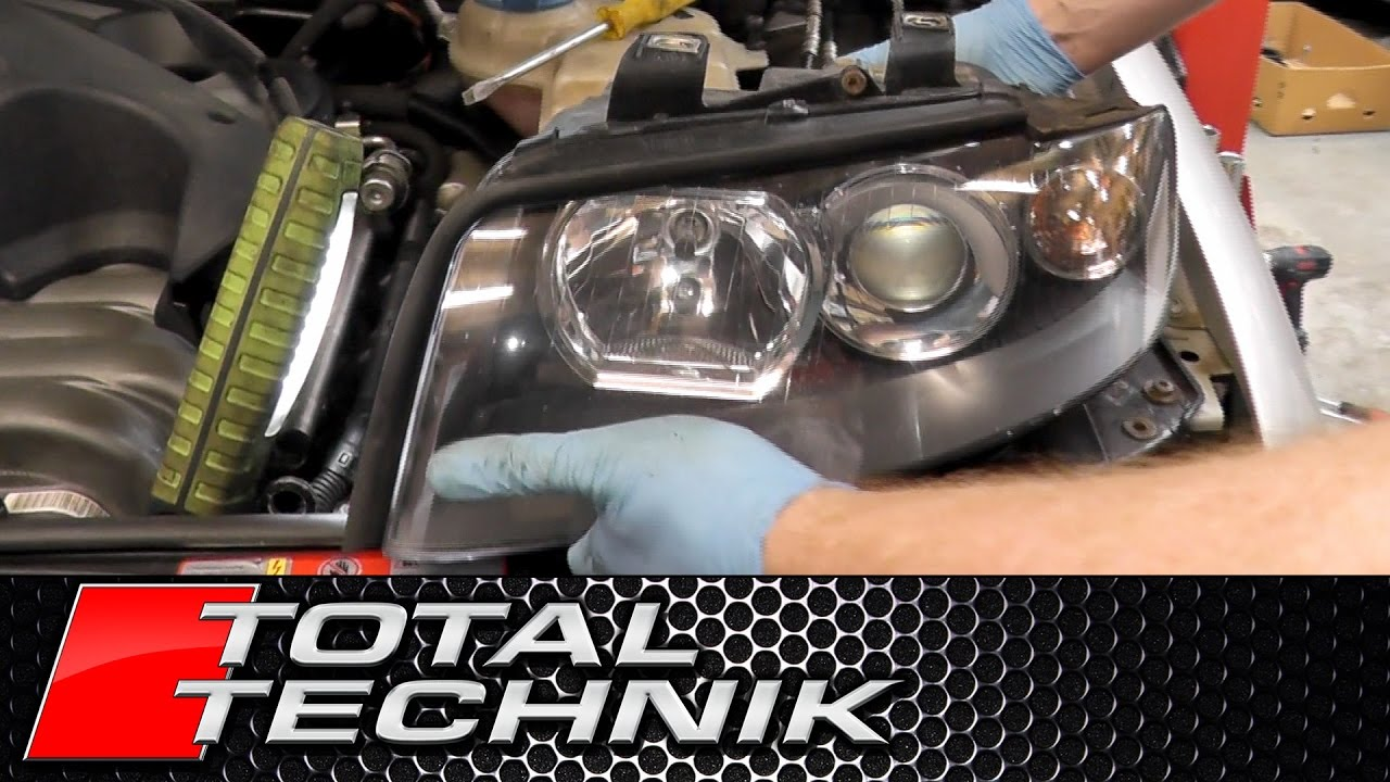 how to remove headlights head lamps audi a4 s4 rs4 b6 2001 2008 total technik [ 1280 x 720 Pixel ]