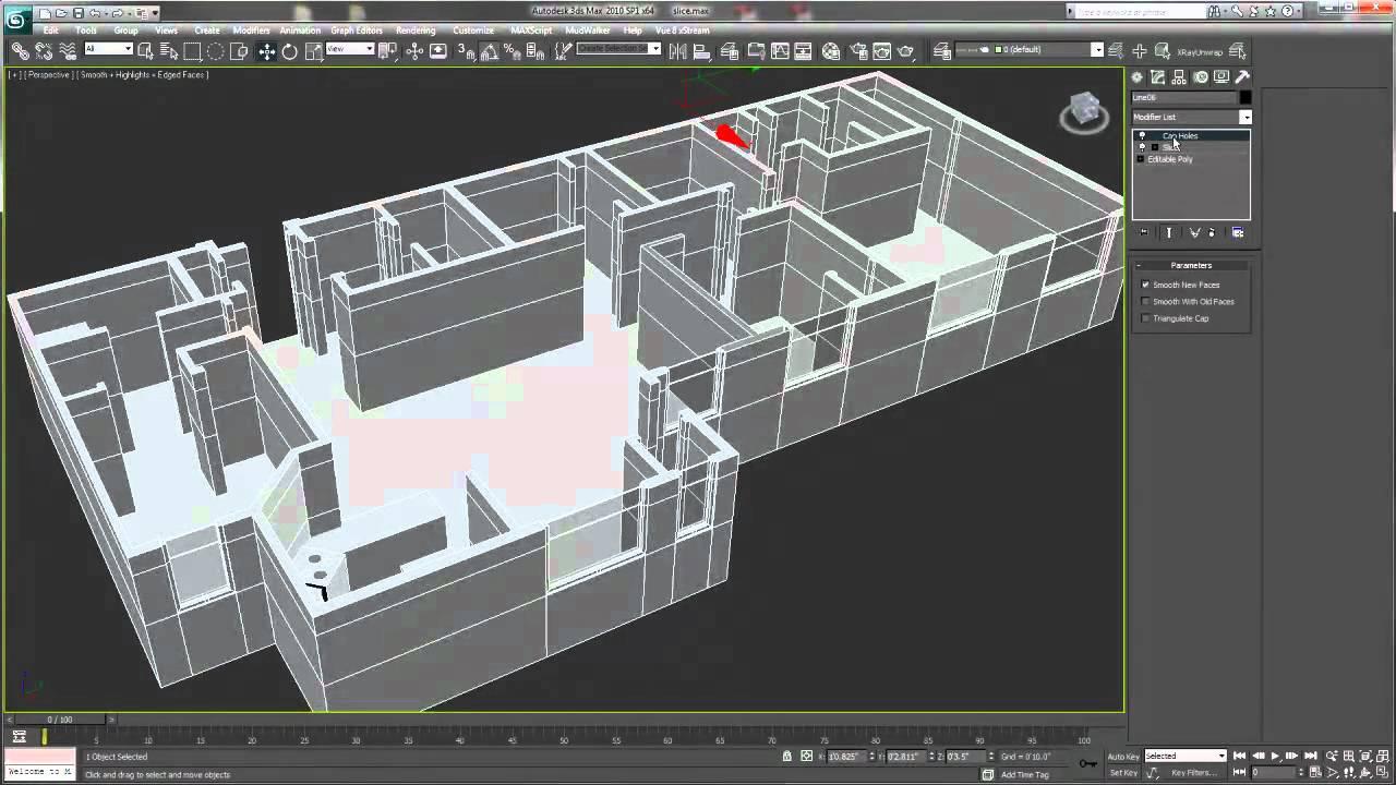 Usando el modificador slice 3ds max tutorial youtube for Como hacer mi casa en 3d