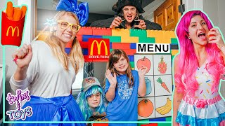 Healthy Snacks McDonalds Drive Thru Pretend Play with Kate and Lilly!