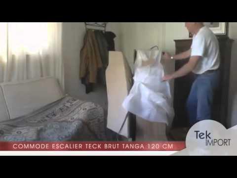 commode escalier teck brut tanga 120 cm tek import youtube. Black Bedroom Furniture Sets. Home Design Ideas
