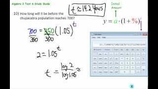 Algebra 2 TAP Test 6: Logs