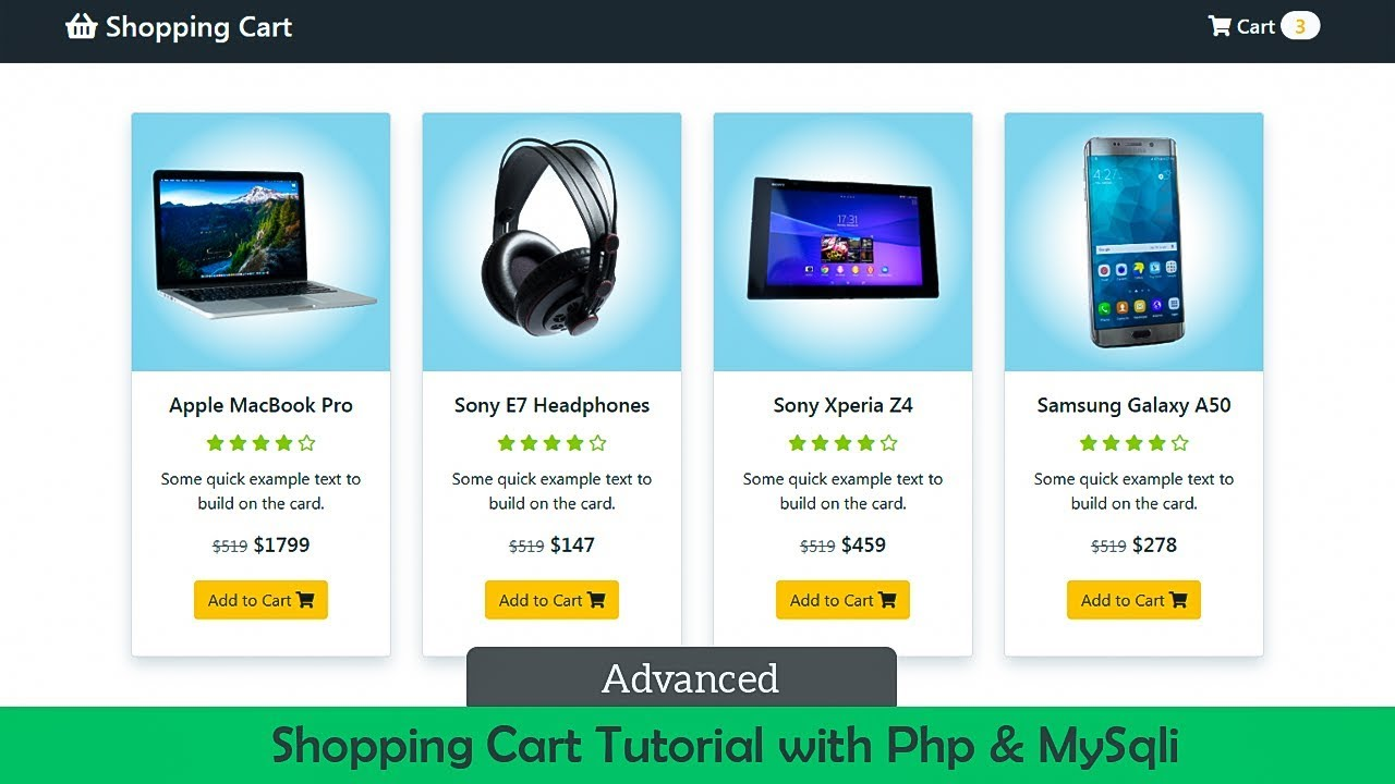 Advanced Shopping Cart Tutorial With Php and MySqli Database