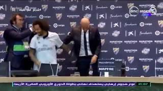 TimeOut - لاعبو ريال مدريد يغرقون المدرب زيدان اثناء المؤتمر الصحفي احتفالا بـ الليجا