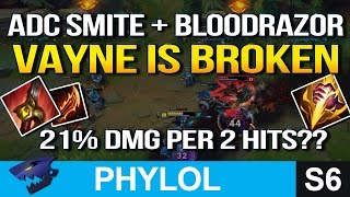 21% MAX HEALTH DMG EVERY 2 HITS - VAYNE SMITE BLOODRAZOR ADC (League of Legends)