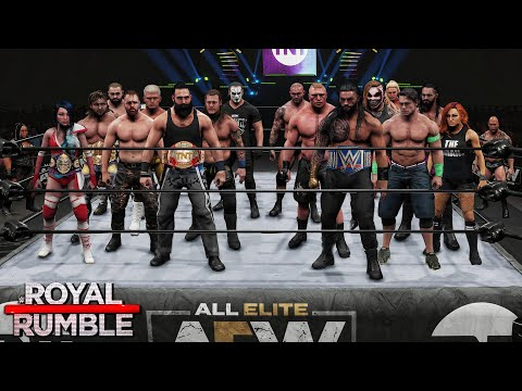 WWE vs AEW 30 Man Royal Rumble Match! (WWE 2K)