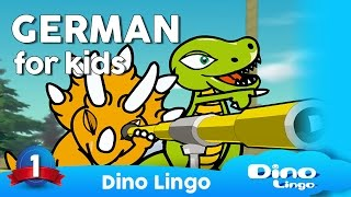 German for kids DVD set - Children learning German - Deutsch für kinder - Germany(http://dinolingo.com/languages/german.html   Dino Lingo German for Kids is a German language learning set where cartoon dinosaur characters introduce the ..., 2012-08-13T17:36:00.000Z)