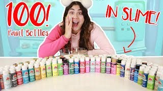 100 DIFFERENT PAINTS IN SLIME ~ What color will it turn into? Slimeatory #388