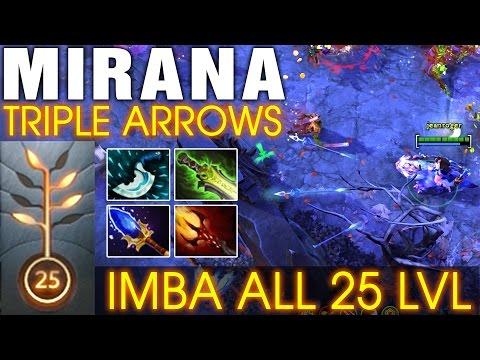 Mirana Triple Arrows with 33 Kills - Imba All 25 LVL - Dota 2 Patch 7.00